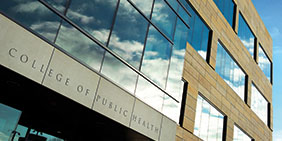 Portrait of College of Public Health Building - links to admissions home page
