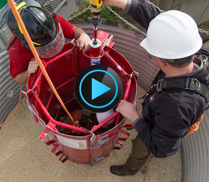 Photo of a simulated grain bin rescue at the University of Iowa College of Public Health