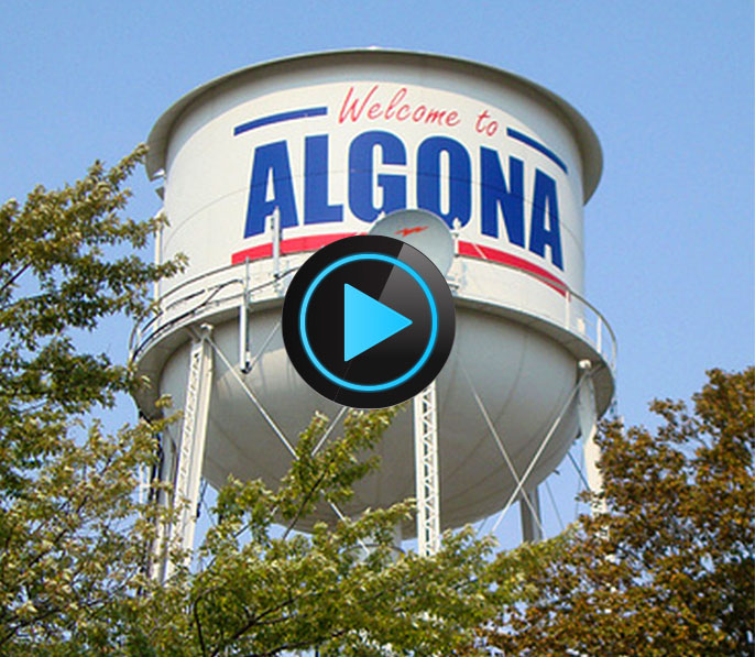 Photo of water tower in Algona, Iowa.
