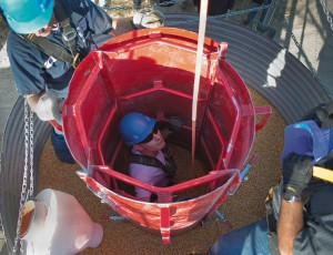 A simulated grain bin rescue.