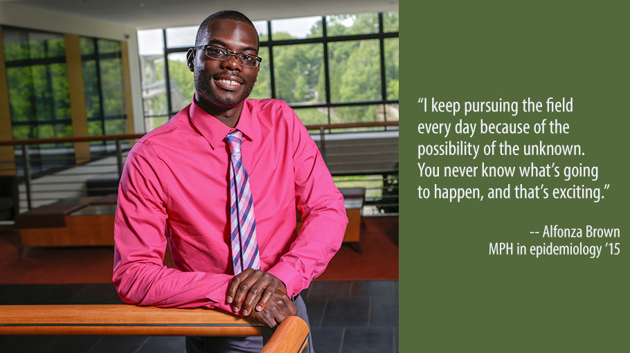 A portrait of recent epidemiology graduate Alfonza Brown