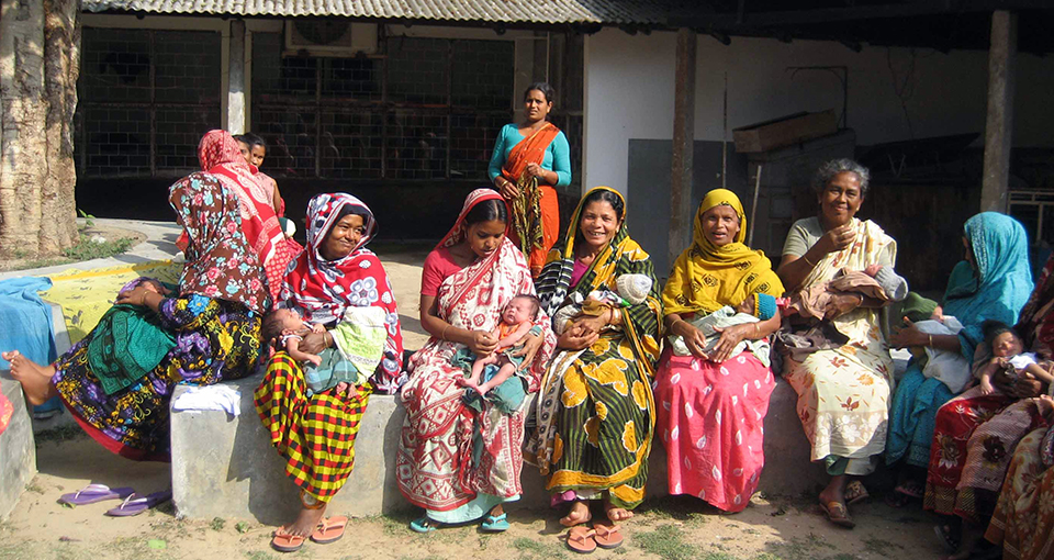 a group of women and their babies at a LAMB Hospital in Bangladesh