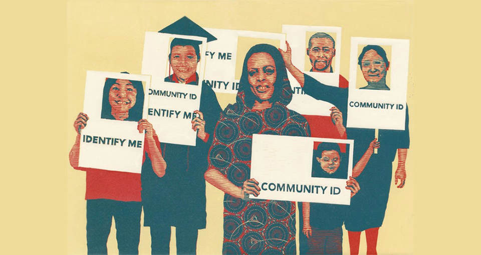 illustration of people holding community ID cards