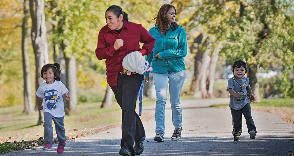 Image of Ottumwa residents using a local fitness trail in 2014