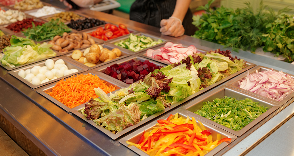 photo of fresh vegetables in a salad bar