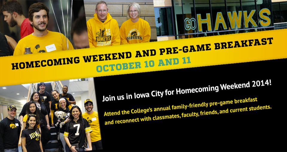 Ad for the 2014 College of Public Health Homecoming Breakfast, Oct. 10 and 11