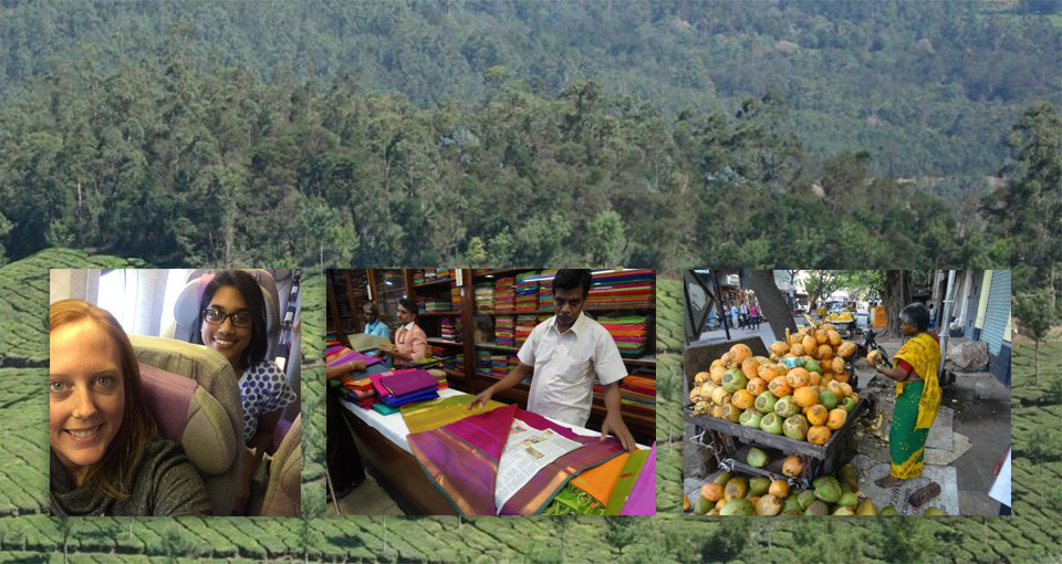 Images of shopping in India and an India tea plantation
