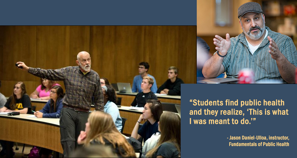 photo of David Osterberg and students in classroom, photo of Jason Daniel-Ulloa
