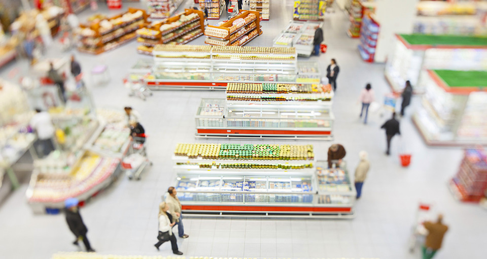 photo of abundant food in a large supermarket