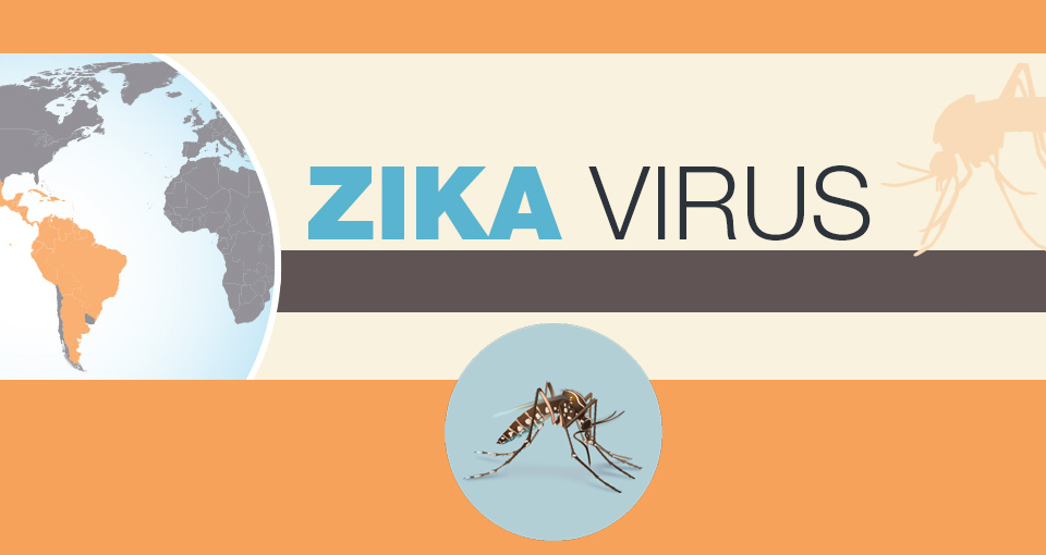 Zika virus with image of mosquito and globe highlighting South and Central America.
