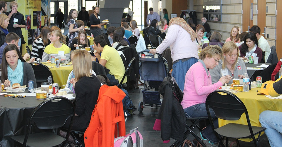 Prospective students gather for lunch at 2013 Visit Day in the College of Public Health Building.