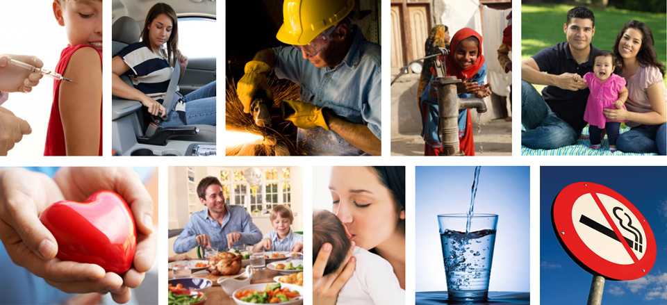 Collage of images depicting different aspects of public health