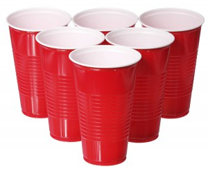 Empty red plastic cups