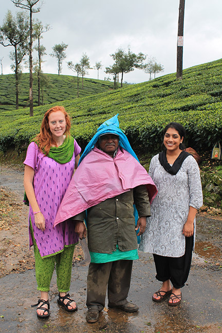 Josie Rudolphi and Maya Ramaswamy with a tea worker in southern India