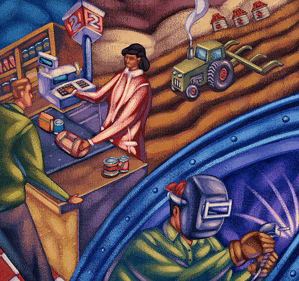 illustration of farming and industry scenes
