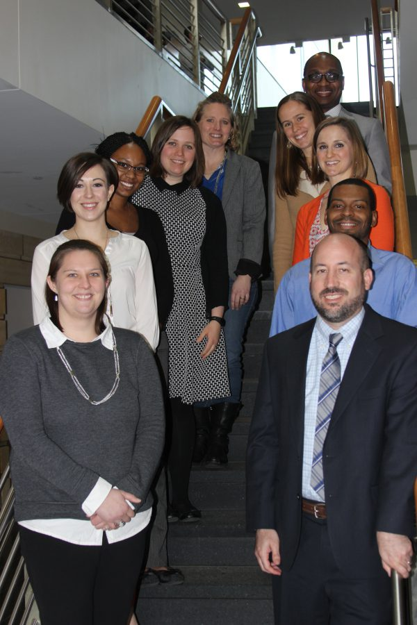 Ten members of the newly formed Alumni Relations Advisory Council. Left side, from top: Nikki Knapp, Katie Jones, Shardé Hameed, Michelle Formanek, Desiree Einsweiler. Right side, from top: Dwight Ferguson, Stephanie Kliethermes, Danielle Pettit-Majewski, David-Erick Lafontant and Steve Slessor. Not pictured: Tom Hart.