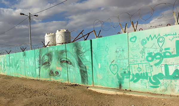 The fence surrounding Zaatari refugee camp