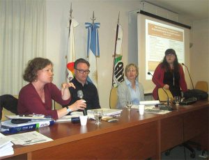 Speaking with the women's group at the Agricultural Federation of Argentina, a farmer cooperative based in Rosario