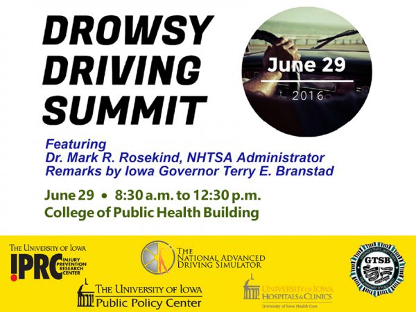 poster for Drowsy Driving Summit held