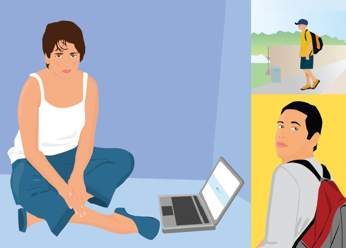 illustrations of young people with laptop, backpacks
