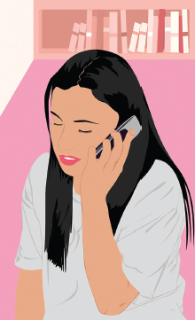 illustration of a young woman talking on a cell phone