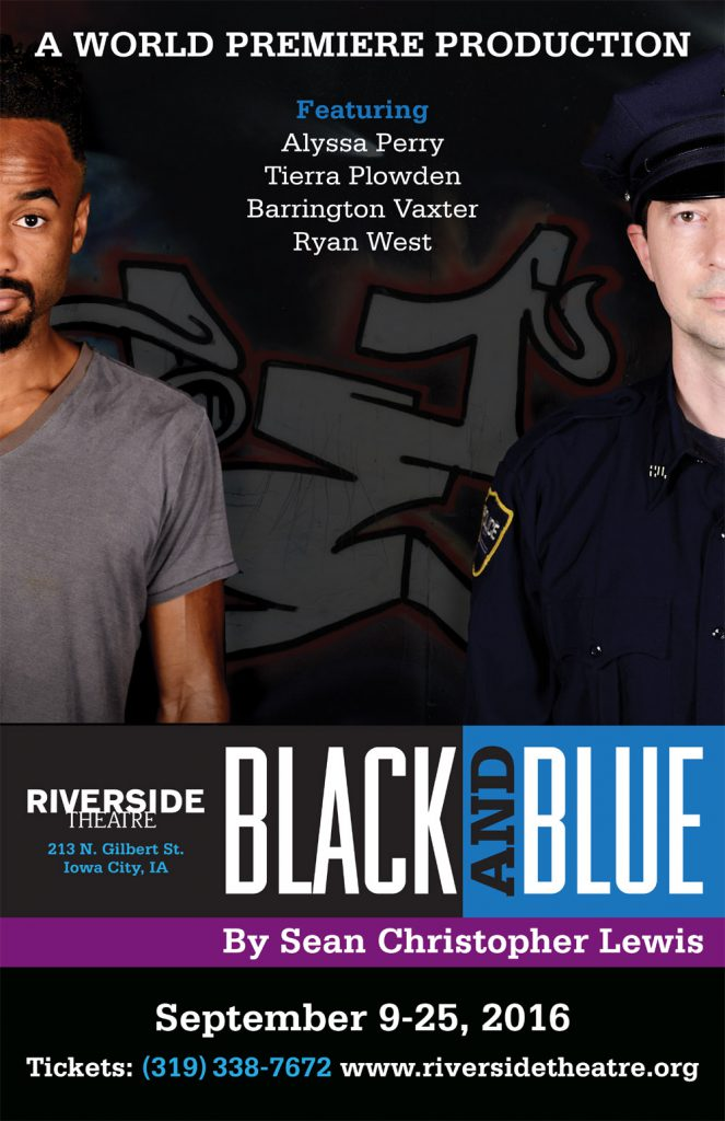 poster for Black and Blue, a play staged by Riverside Theatre