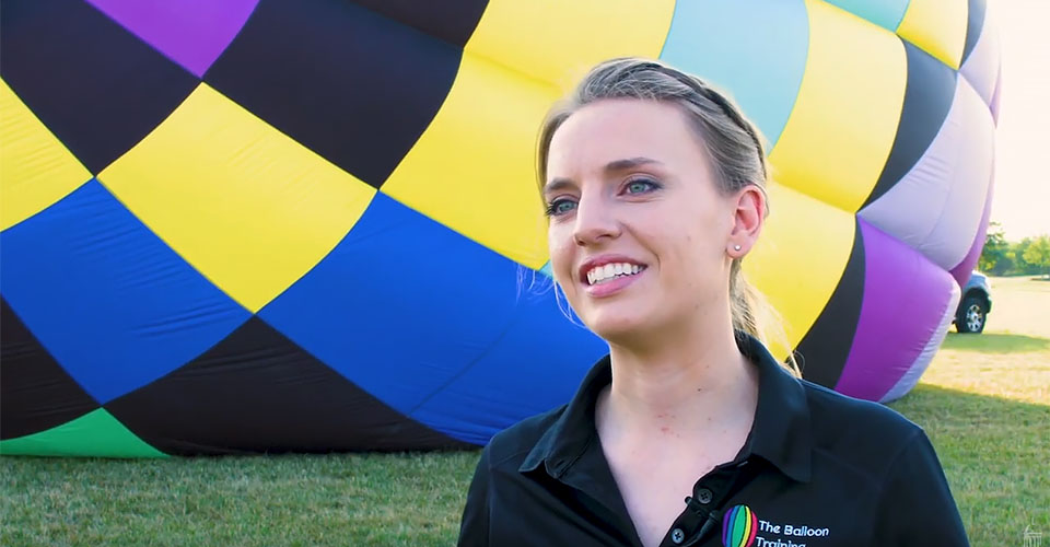 Kim Magee stands in front of her hot air balloon
