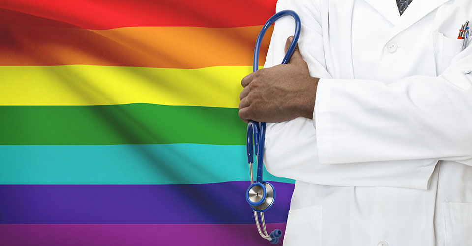 LGBT flag and health professional
