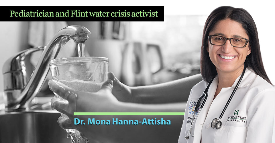 photo collage of Dr. Mona Hanna-Attisha and a child filling a water glass from a faucet