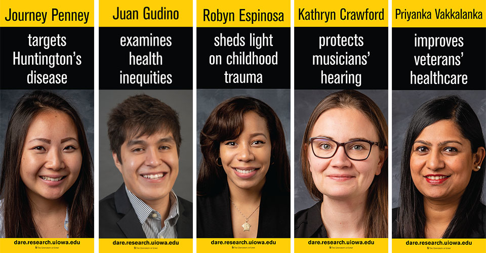 Images of five CPH students featured in the University of Iowa's Dare to Discover banner campaign