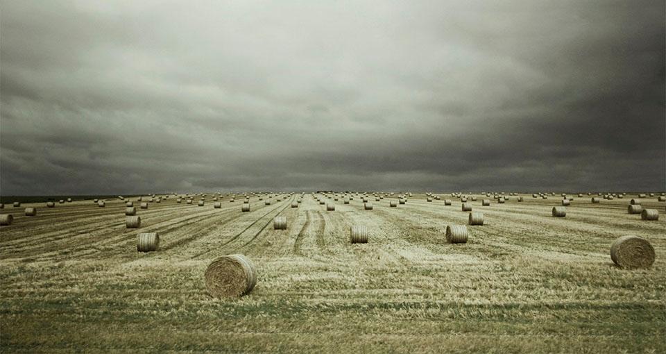 hay bales under a stormy sky