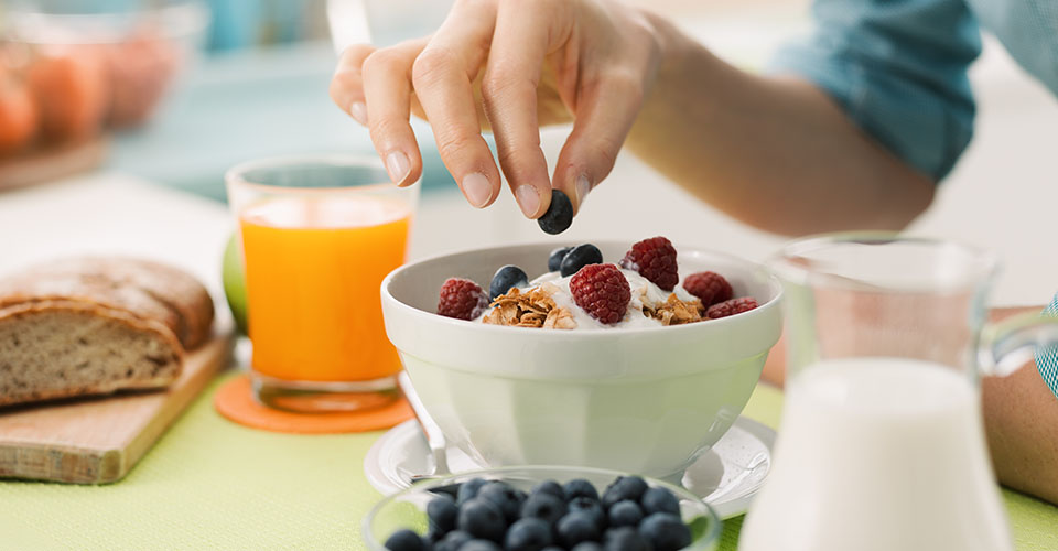 a bowl of yogurt and berries