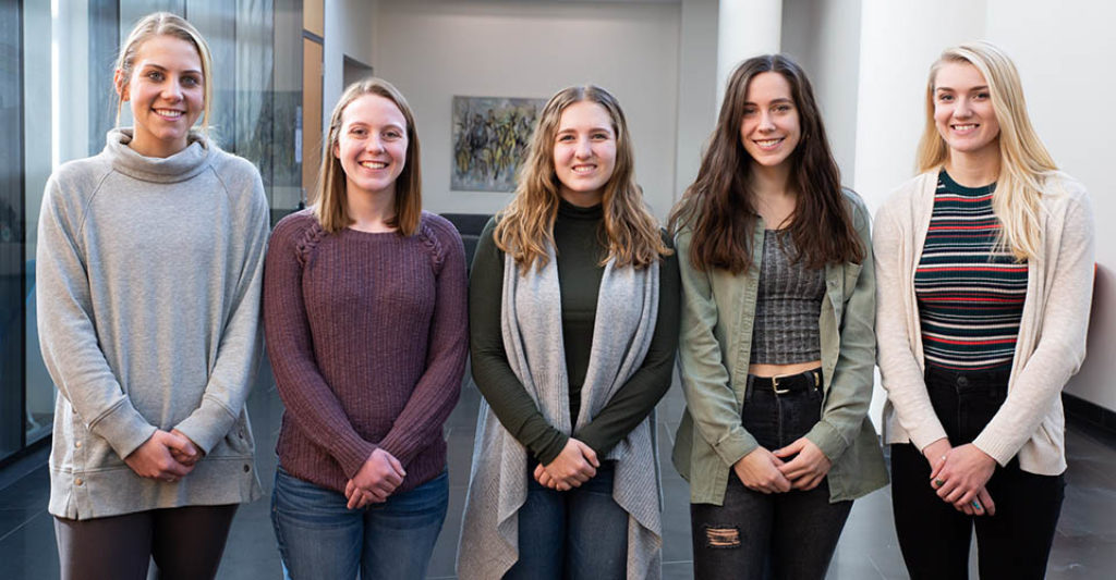 five students who are the first to graduate from the CPH undergrad program