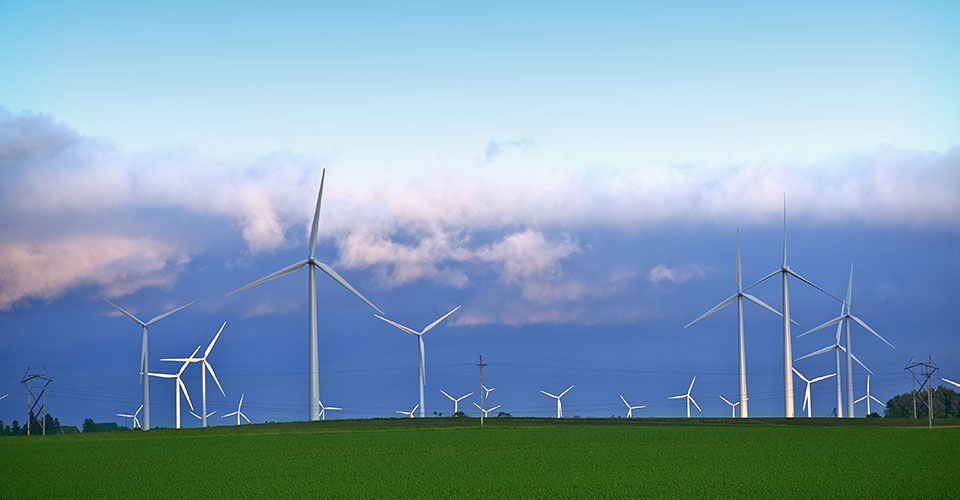 a group of wind turbines in a rural landscape