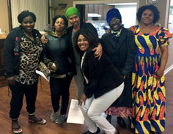 Congolese women gather for a meeting at IC Compassion.