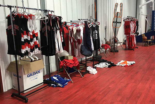 uniforms await games at Athletics for Education and Success in Fort Dodge