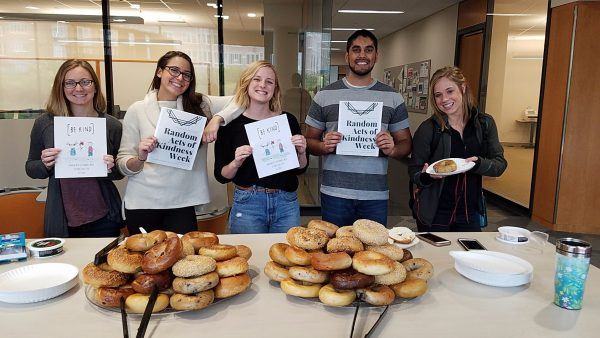 CPHSA members celebrate Random Acts of Kindness Week by providing free bagels for students