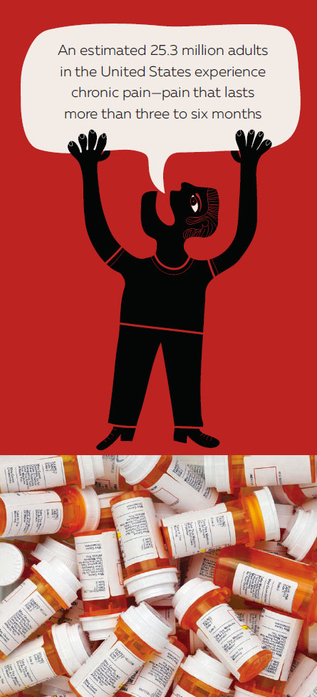 illustration of pill bottles and person with arms raised