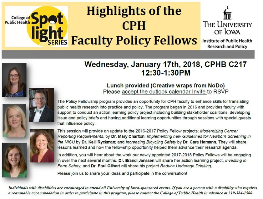 Policy Fellow Spotlight is Jan. 17, 2018