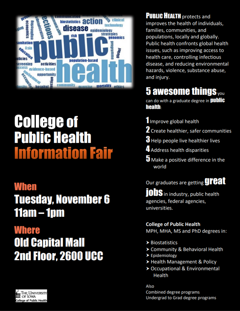 CPH Info Fair, 11/6/2018 11am-1pm, Old Capital Mall, 2nd floor 2600UCC