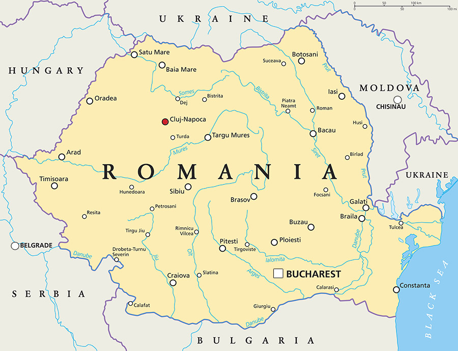 Romania political map. Illustration.