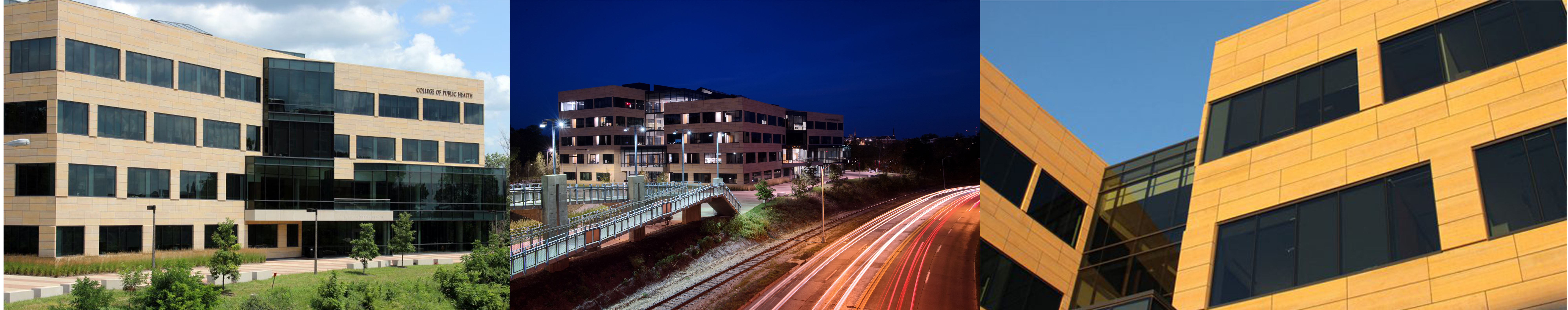 College of Public Health Building at blue hour/dusk