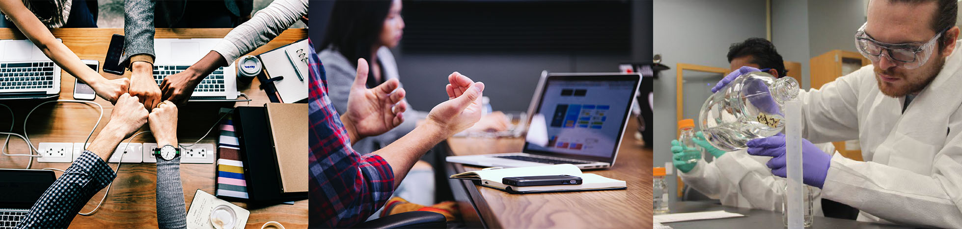 Three pictures of public health careers. The first one shows several people fist-bumping over an office table, the second one shows people at work at a computer and the third one shows a person in a laboratory.