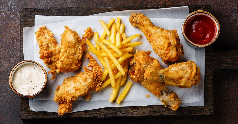photo of fried chicken and french fries