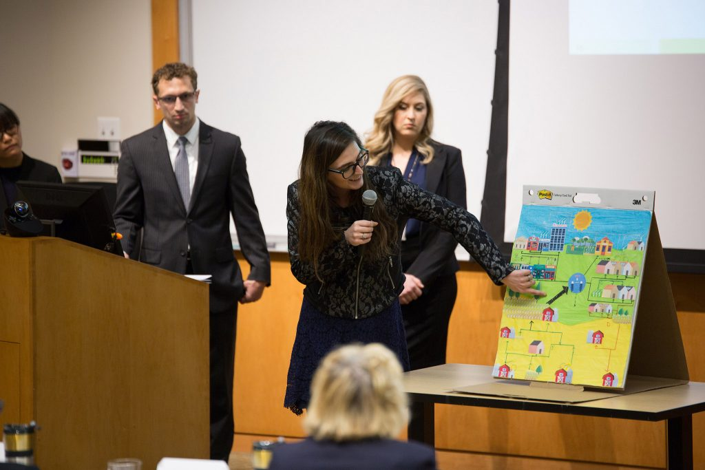 a student team presents at the 2018 Global Public Health Case Competition