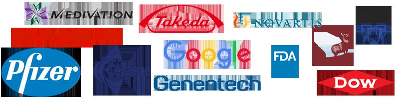Logos of Medivation, Johnson & Johnson, Pfizer, Celgene, Takeda, Google, Genentech, Novartis, FDA, The Hartford, Dow and Mayo Clinic.
