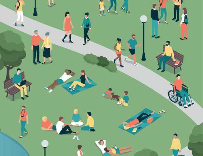 illustration of diverse people at the city park