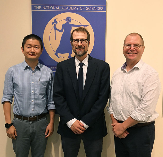 Xi Zhu, Ryan Carnahan, and Paul Gilbert pose for a photo at the National Academy of Medicine's Emerging Leaders Forum