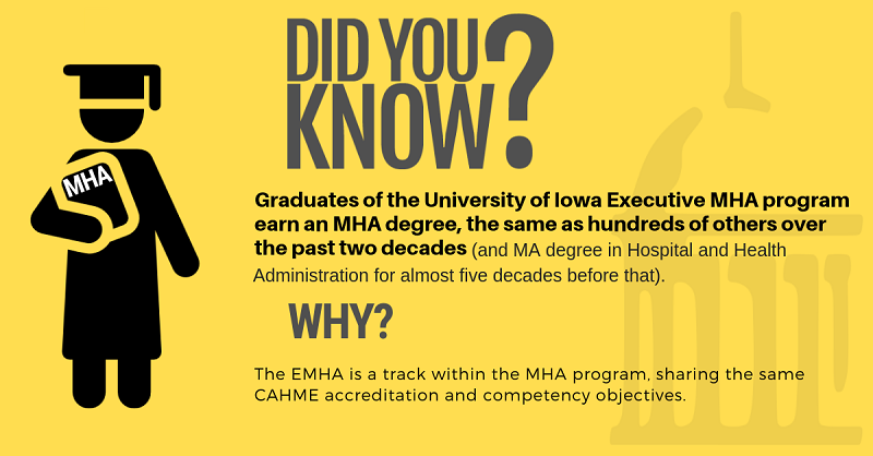 Graduates of the University of Iowa Executive MHA program earn an MHA degree, the same as hundreds of others over the past two decades