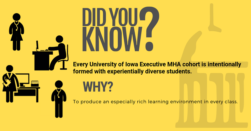 Every University of Iowa Executive MHA cohort is formed with experientially diverse students